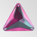 30mm Acrylic Triangle Sew-On Stone, Rose color