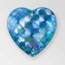 20mm Acrylic Heart Sew-On Stone, Argent Flare color