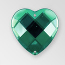 20mm Acrylic Heart Sew-On Stone, Emerald color