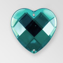 20mm Acrylic Heart Sew-On Stone, Indicolite color