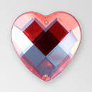 20mm Acrylic Heart Sew-On Stone, Light Siam color
