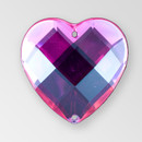 20mm Acrylic Heart Sew-On Stone, Rose color