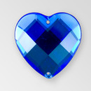 20mm Acrylic Heart Sew-On Stone, Sapphire color