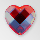 20mm Acrylic Heart Sew-On Stone, Siam color