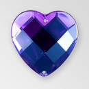 25mm Acrylic Heart Sew-On Stone, Amethyst color