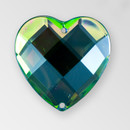 25mm Acrylic Heart Sew-On Stone, Vitrail Medium color
