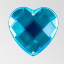 20mm Acrylic Heart Sew-On Stone, Aqua Bohemica color