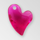 17mm Acrylic Iceberg Heart Pendant, Fuchsia color