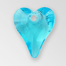 14mm Acrylic Heart Pendant, Aqua color