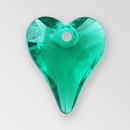 14mm Acrylic Heart Pendant, Emerald color