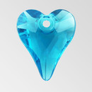 14mm Acrylic Heart Pendant, Indicolite color