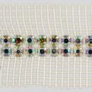 2-row Machine Cut Metal Banding Crystal AB, Silver Plated with White Netting on both Sides