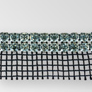 2-row Machine Cut Metal Banding Crystal, Silver Plated with Black Netting on one Side