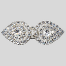 2.25 Inches x 0.875 Inch Crystal Silver Rhinestone Connector - (1 piece / can't be opened), ss12, Pear 10x6