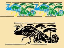 Art Nouveau Peacock 15 X 6