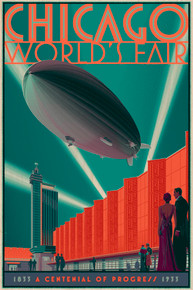 Chicago Zeppelin Wood Variant Poster