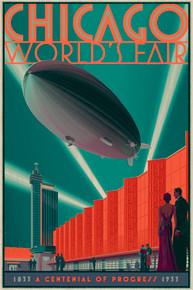 Chicago Zeppelin Wood Variant Poster