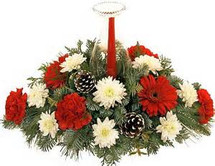 Holiday Traditions Bouquet...a true classic gift for the Christmas season.  Classic red and white flowers with pine cones and a red taper candle.