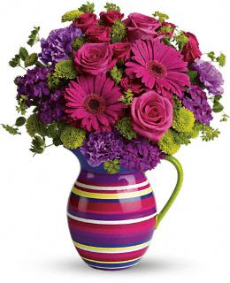 Pastel Pitcher filled with colorful flowers, great hostess gift, get well, thinking of you, or no occasion at all.