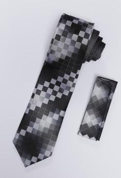 JPJ Tie + Handkerchief CHARCOAL