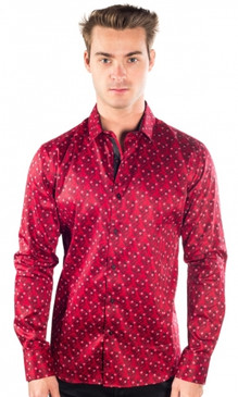 JPJ Festive Men's Red Button Down Shirt