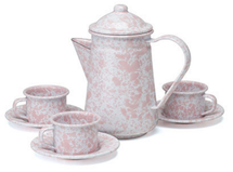 CHILDREN'S TEA SET - PINK MARBLE