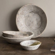 Found Dough Bowl White Wash Medium