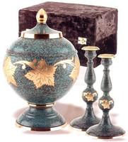 205 Patina Leaf Cremation Urn Set