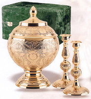 209 Brass Memorial Cremation Urn Set
