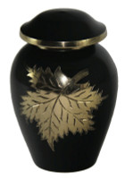 "2700/3"" Keepsake Urn, Black Finish with Brass Engraved Leaves"