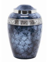 Solid Aluminum Urn with Blue Fire Finish and Decorative Band