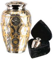 "509/10""  Silver/Gold Solid Brass Urn"