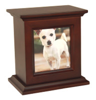 6995D Wood Photo Urn with Mahogany Finish - Small/Pet