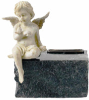 726 Angel Urn for Infant on Black Marble