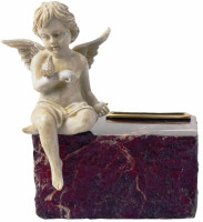 728 Angel Urn for Infant on Ruby Marble