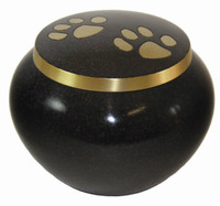 9451S Paw Print Pet Urn - Ebony Granite Finish