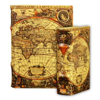 BK3 Old World Map Book Urn with Matching Memento Box