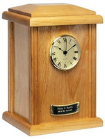 WTU42 Tower Clock Urn - Natural Hardwood