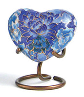 Traditional Floral Blue - crafted of cloisonné- Heart Keepsake