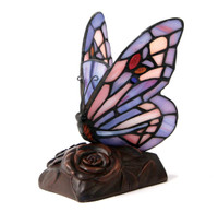 Tiffany Style Butterfly Lamp Keepsake - Purple