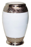 Solid Brass Urn with Elegant White Gloss Finish and Decorative Engraved Band