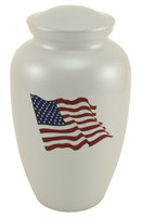 Classic White Flag Urn - Large/Adult