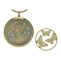 Round Butterfly Cremation Jewelry - 14K gold plated base