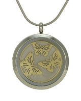 Round Butterfly Cremation Jewelry - Stainless steel base and 14K gold plated Butterflies