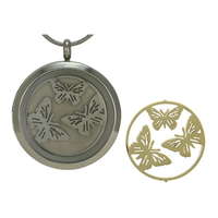 Round Butterfly Cremation Jewelry - Stainless steel base