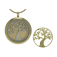 Round Tree Cremation Jewelry - 14K gold plated base
