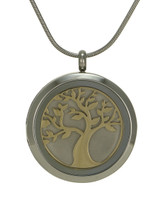 Round Tree Cremation Jewelry - Stainless steel base and 14K gold plated Tree