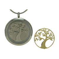 Round Tree Cremation Jewelry - Stainless steel base