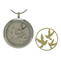 Round Cremation Jewelry with Birds - Stainless steel base