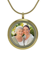 Round Photo Cremation Jewelry - 14K gold plated finish